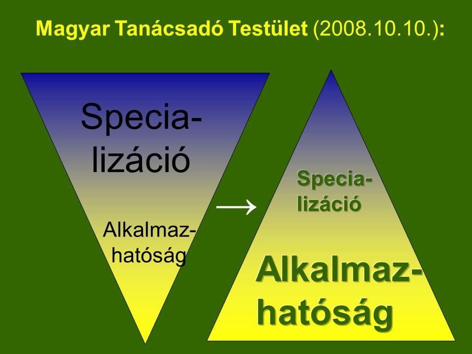 Alkalmaz- hatóság Specia- lizáció → Magyar Tanácsadó Testület (2008.10.10.):