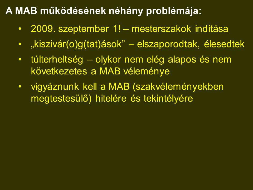 A MAB működésének néhány problémája: 2009. szeptember 1.