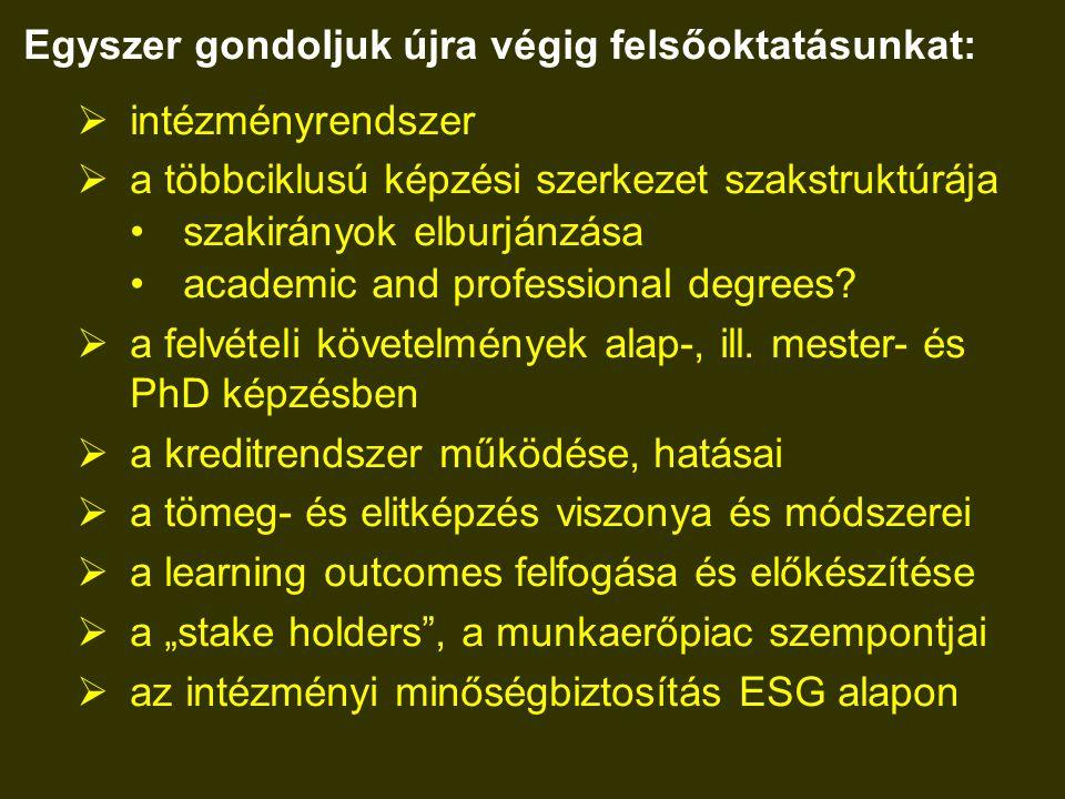 Egyszer gondoljuk újra végig felsőoktatásunkat:  intézményrendszer  a többciklusú képzési szerkezet szakstruktúrája szakirányok elburjánzása academic and professional degrees.