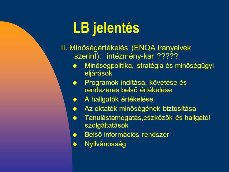 LB jelentés II. Minőségértékelés (ENQA irányelvek szerint):intézmény-kar ????.