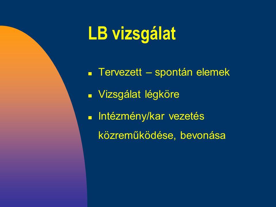 LB vizsgálat n Tervezett – spontán elemek n Vizsgálat légköre n Intézmény/kar vezetés közreműködése, bevonása