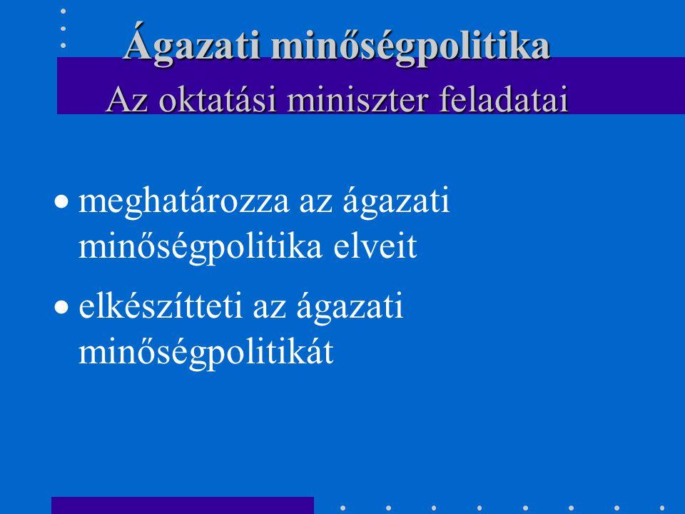  meghatározza az ágazati minőségpolitika elveit  elkészítteti az ágazati minőségpolitikát Az oktatási miniszter feladatai Ágazati minőségpolitika