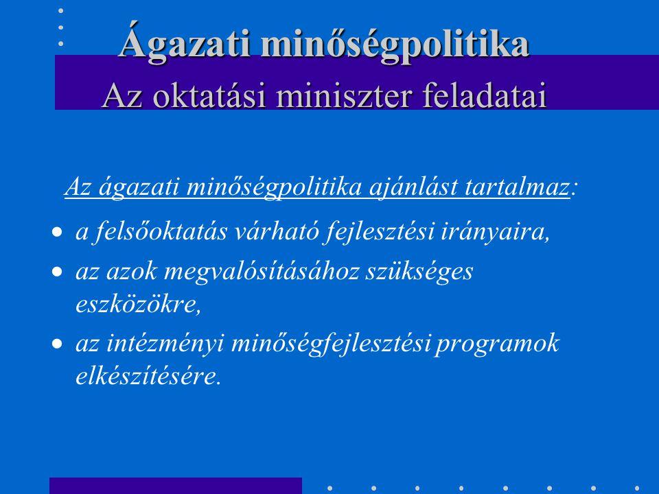 Az ágazati minőségpolitika ajánlást tartalmaz:  a felsőoktatás várható fejlesztési irányaira,  az azok megvalósításához szükséges eszközökre,  az i