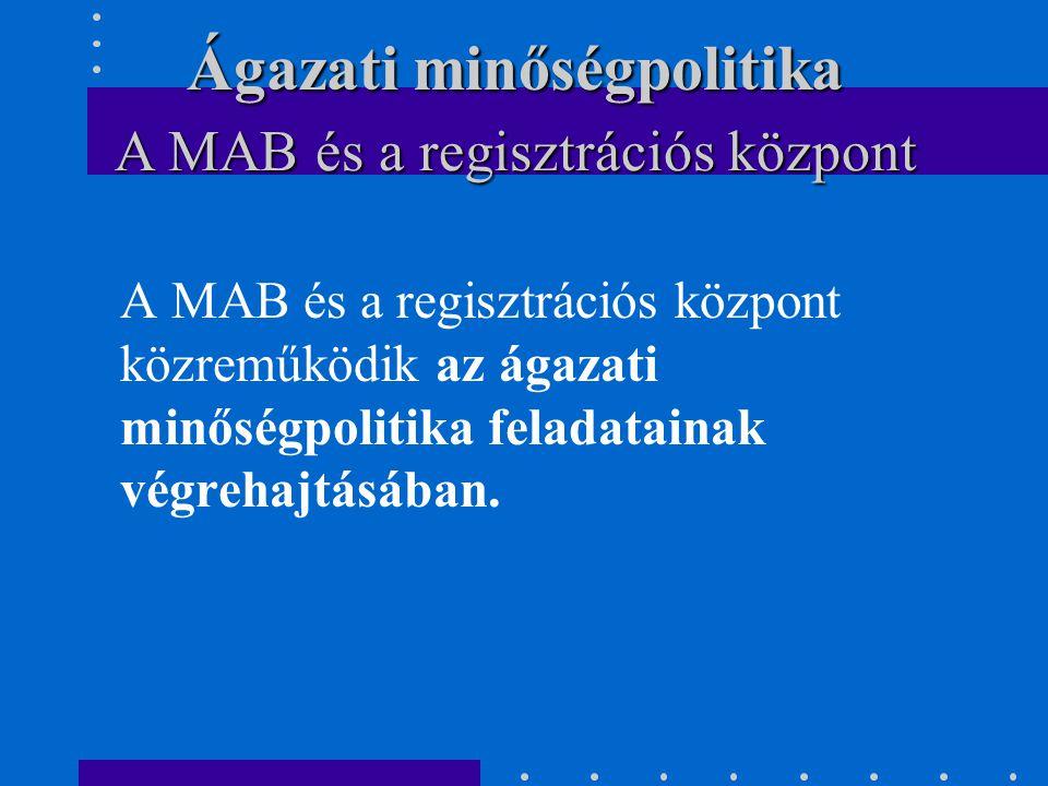 A MAB és a regisztrációs központ közreműködik az ágazati minőségpolitika feladatainak végrehajtásában. A MAB és a regisztrációs központ Ágazati minősé