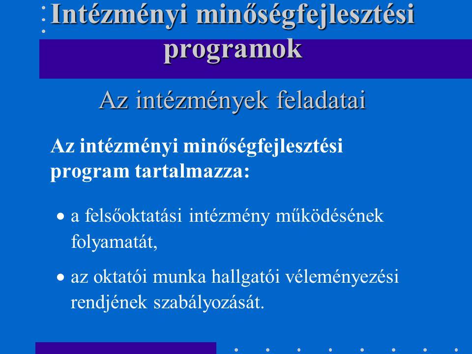 Az intézményi minőségfejlesztési program tartalmazza:  a felsőoktatási intézmény működésének folyamatát,  az oktatói munka hallgatói véleményezési rendjének szabályozását.