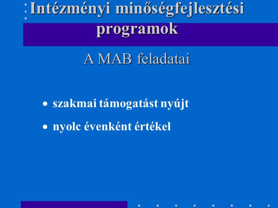  szakmai támogatást nyújt  nyolc évenként értékel A MAB feladatai Intézményi minőségfejlesztési programok