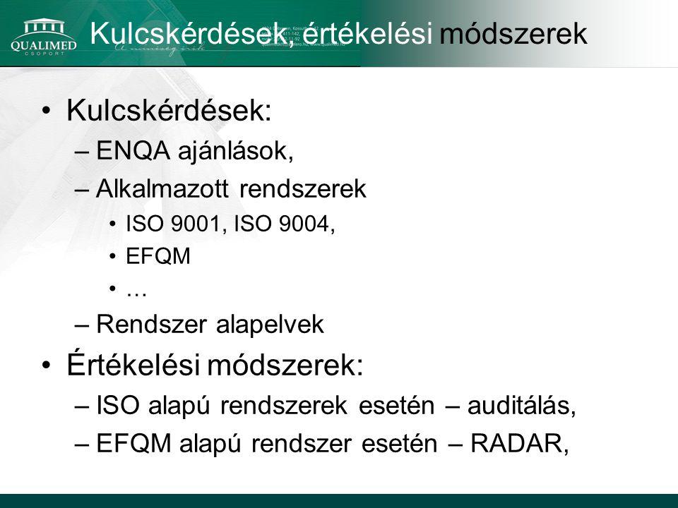 Kulcskérdések, értékelési módszerek Kulcskérdések: –ENQA ajánlások, –Alkalmazott rendszerek ISO 9001, ISO 9004, EFQM … –Rendszer alapelvek Értékelési módszerek: –ISO alapú rendszerek esetén – auditálás, –EFQM alapú rendszer esetén – RADAR,