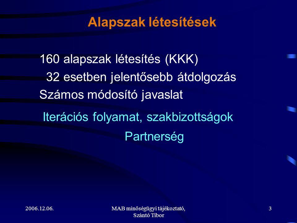 2006.12.06.MAB minőségügyi tájékoztató, Szántó Tibor 3 Alapszak létesítések 160 alapszak létesítés (KKK) 32 esetben jelentősebb átdolgozás Számos módo