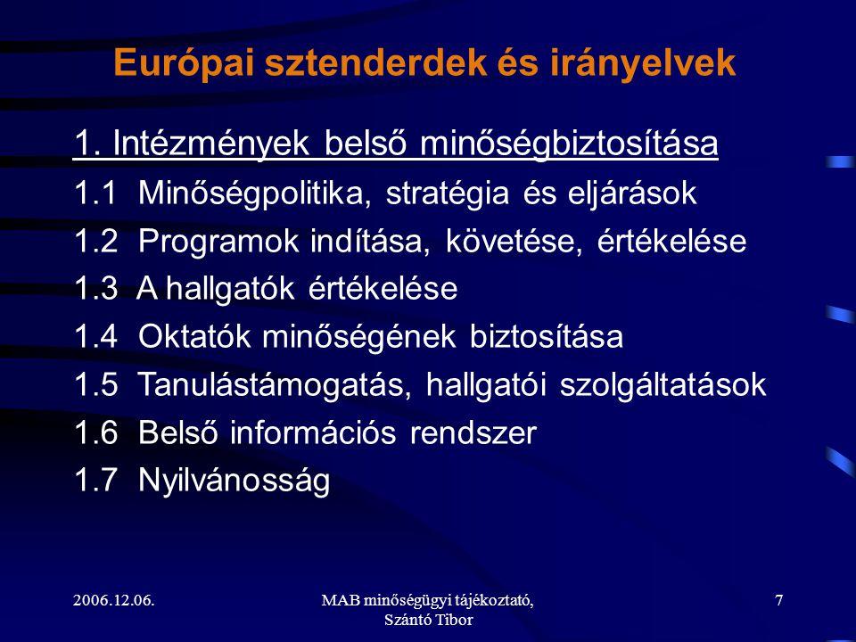 2006.12.06.MAB minőségügyi tájékoztató, Szántó Tibor 7 1. Intézmények belső minőségbiztosítása 1.1 Minőségpolitika, stratégia és eljárások 1.2 Program