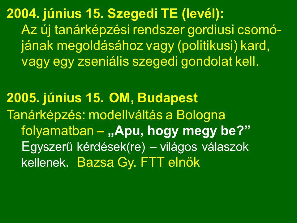 2004. június 15. Szegedi TE (levél): Az új tanárképzési rendszer gordiusi csomó- jának megoldásához vagy (politikusi) kard, vagy egy zseniális szegedi