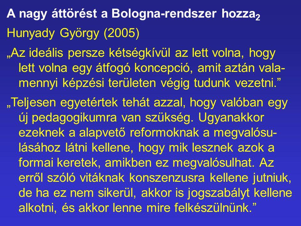"""A nagy áttörést a Bologna-rendszer hozza 2 Hunyady György (2005) """"Az ideális persze kétségkívül az lett volna, hogy lett volna egy átfogó koncepció, a"""