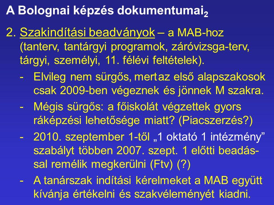 A Bolognai képzés dokumentumai 2 2.Szakindítási beadványok – a MAB-hoz (tanterv, tantárgyi programok, záróvizsga-terv, tárgyi, személyi, 11. félévi fe
