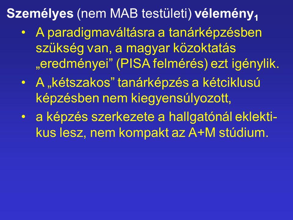 """Személyes (nem MAB testületi) vélemény 1 A paradigmaváltásra a tanárképzésben szükség van, a magyar közoktatás """"eredményei"""" (PISA felmérés) ezt igényl"""