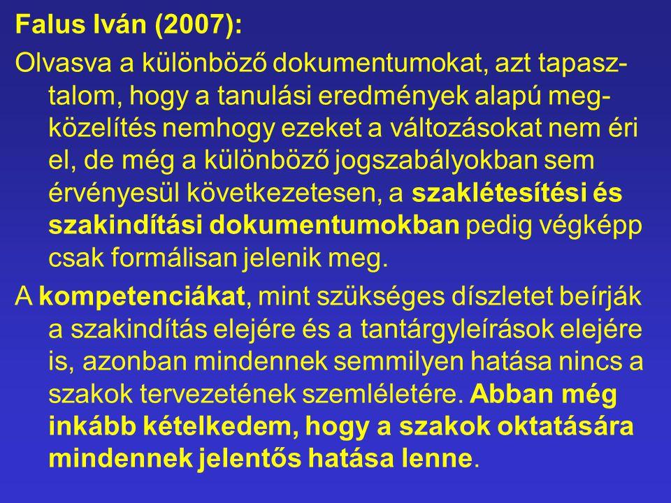 Falus Iván (2007): Olvasva a különböző dokumentumokat, azt tapasz- talom, hogy a tanulási eredmények alapú meg- közelítés nemhogy ezeket a változásoka