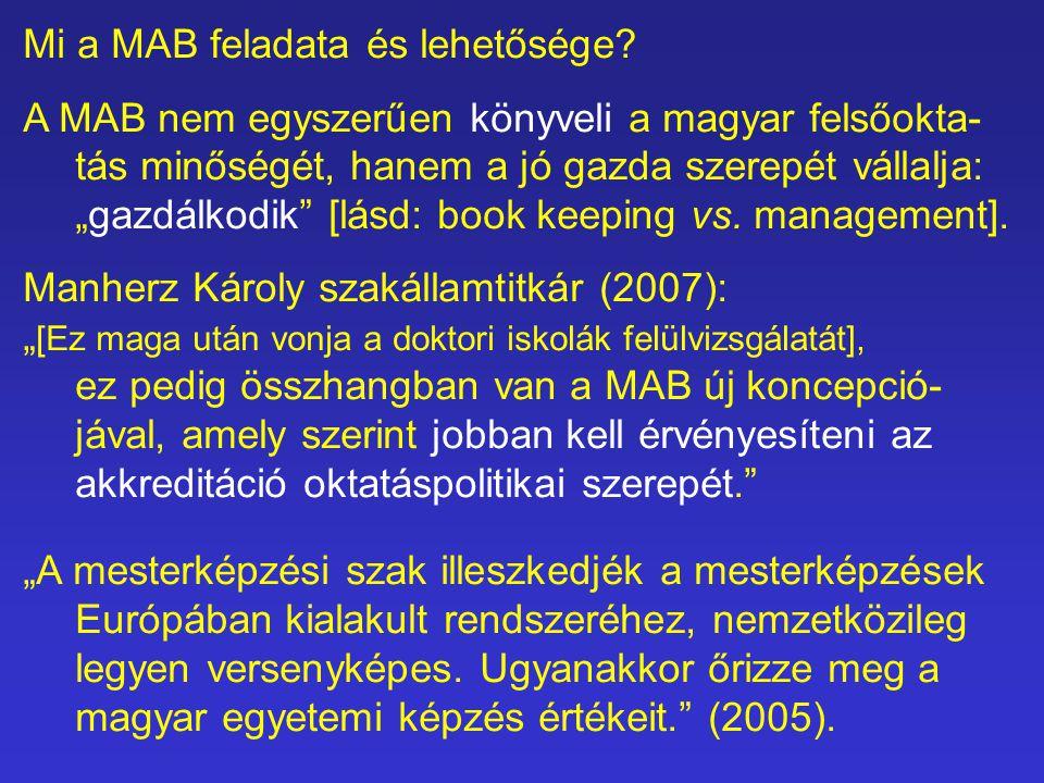 """Mi a MAB feladata és lehetősége? A MAB nem egyszerűen könyveli a magyar felsőokta- tás minőségét, hanem a jó gazda szerepét vállalja: """"gazdálkodik"""" [l"""