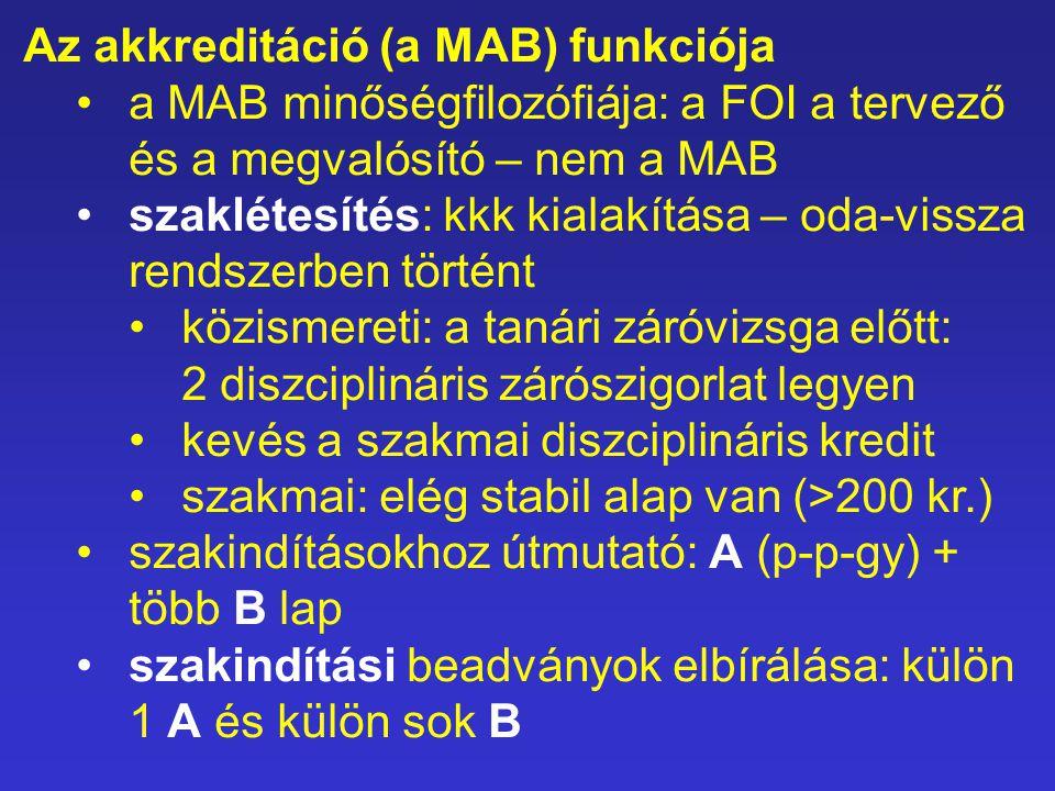 Az akkreditáció (a MAB) funkciója a MAB minőségfilozófiája: a FOI a tervező és a megvalósító – nem a MAB szaklétesítés: kkk kialakítása – oda-vissza r