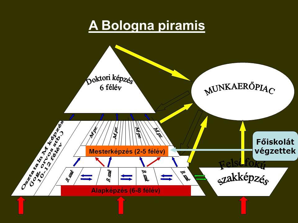 Alapképzés (6-8 félév) Mesterképzés (2-5 félév) A Bologna piramis Főiskolát végzettek