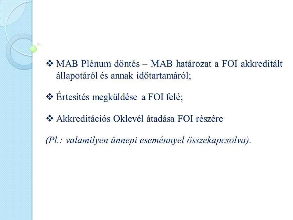  MAB Plénum döntés – MAB határozat a FOI akkreditált állapotáról és annak időtartamáról;  Értesítés megküldése a FOI felé;  Akkreditációs Oklevél átadása FOI részére (Pl.: valamilyen ünnepi eseménnyel összekapcsolva).