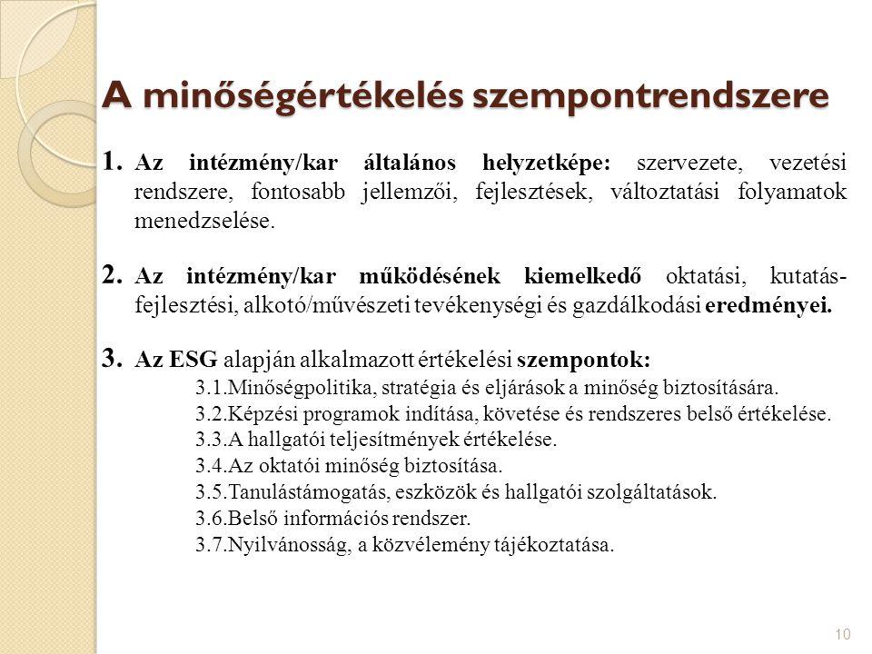 A minőségértékelés szempontrendszere 1. Az intézmény/kar általános helyzetképe: szervezete, vezetési rendszere, fontosabb jellemzői, fejlesztések, vál