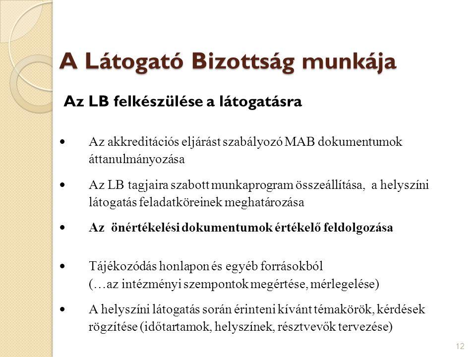 A Látogató Bizottság munkája Az LB felkészülése a látogatásra Az akkreditációs eljárást szabályozó MAB dokumentumok áttanulmányozása Az LB tagjaira sz