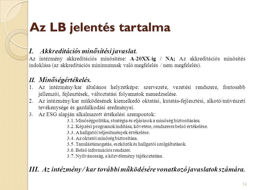 Az LB jelentés tartalma 14 I.Akkreditációs minősítési javaslat. Az intézmény akkreditációs minősítése: A-20XX-ig / NA; Az akkreditációs minősítés indo