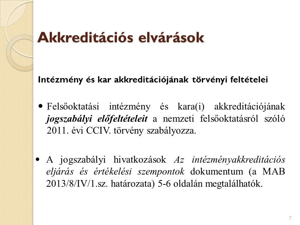 Akkreditációs elvárások Intézmény és kar akkreditációjának törvényi feltételei Felsőoktatási intézmény és kara(i) akkreditációjának jogszabályi előfel
