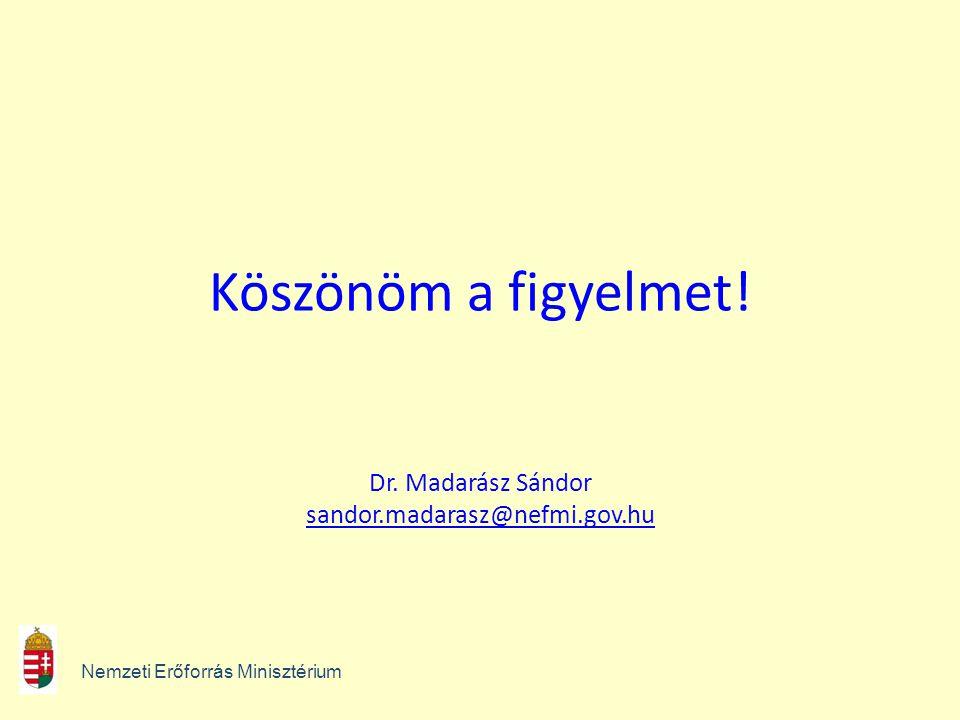 Köszönöm a figyelmet! Dr. Madarász Sándor sandor.madarasz@nefmi.gov.hu sandor.madarasz@nefmi.gov.hu Nemzeti Erőforrás Minisztérium