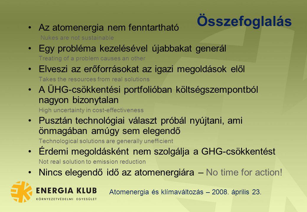 Atomenergia és klímaváltozás – 2008. április 23.