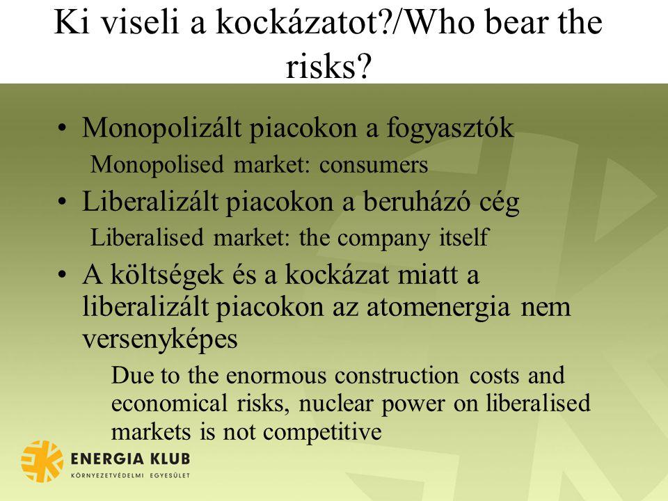 Ki viseli a kockázatot?/Who bear the risks? Monopolizált piacokon a fogyasztók Monopolised market: consumers Liberalizált piacokon a beruházó cég Libe