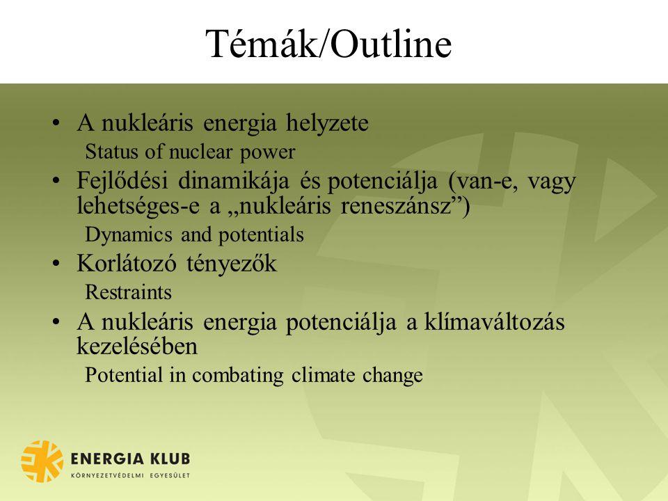 """Témák/Outline A nukleáris energia helyzete Status of nuclear power Fejlődési dinamikája és potenciálja (van-e, vagy lehetséges-e a """"nukleáris reneszánsz ) Dynamics and potentials Korlátozó tényezők Restraints A nukleáris energia potenciálja a klímaváltozás kezelésében Potential in combating climate change"""