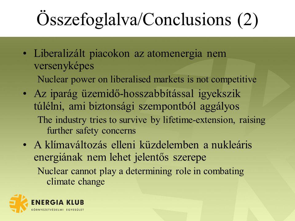 Összefoglalva/Conclusions (2) Liberalizált piacokon az atomenergia nem versenyképes Nuclear power on liberalised markets is not competitive Az iparág üzemidő-hosszabbítással igyekszik túlélni, ami biztonsági szempontból aggályos The industry tries to survive by lifetime-extension, raising further safety concerns A klímaváltozás elleni küzdelemben a nukleáris energiának nem lehet jelentős szerepe Nuclear cannot play a determining role in combating climate change