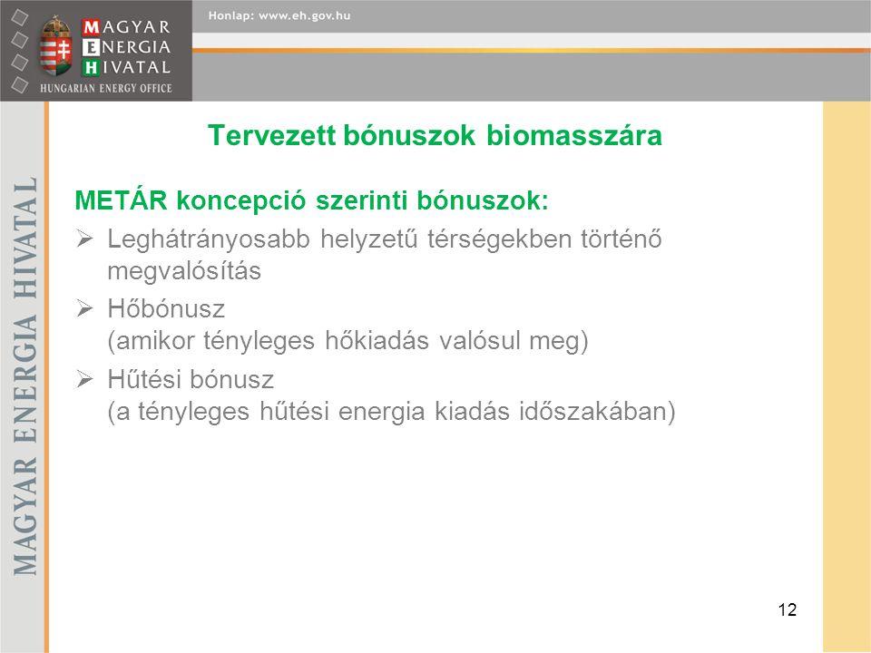 Tervezett bónuszok biomasszára METÁR koncepció szerinti bónuszok:  Leghátrányosabb helyzetű térségekben történő megvalósítás  Hőbónusz (amikor tényleges hőkiadás valósul meg)  Hűtési bónusz (a tényleges hűtési energia kiadás időszakában) 12