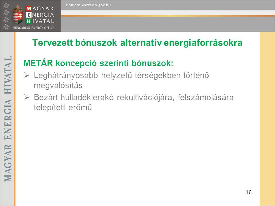 Tervezett bónuszok alternatív energiaforrásokra METÁR koncepció szerinti bónuszok:  Leghátrányosabb helyzetű térségekben történő megvalósítás  Bezár