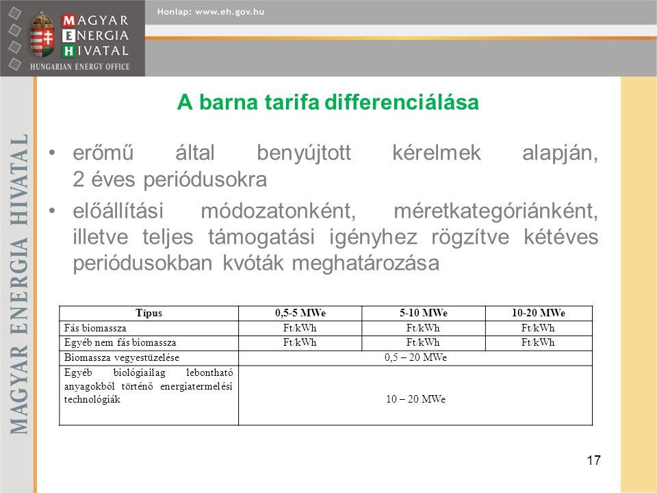 A barna tarifa differenciálása erőmű által benyújtott kérelmek alapján, 2 éves periódusokra előállítási módozatonként, méretkategóriánként, illetve te
