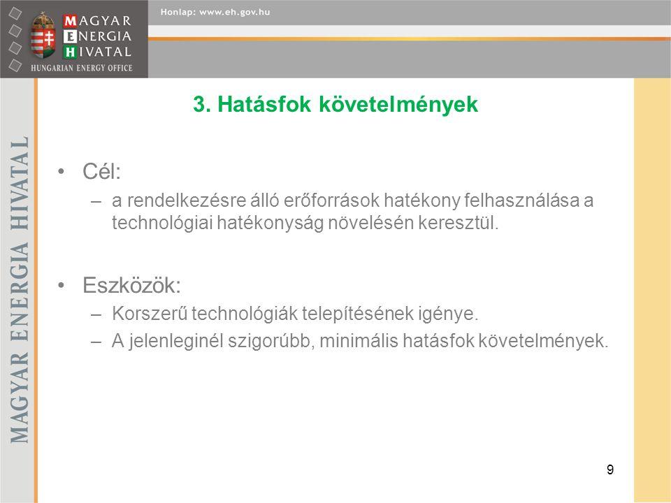 3. Hatásfok követelmények Cél: –a rendelkezésre álló erőforrások hatékony felhasználása a technológiai hatékonyság növelésén keresztül. Eszközök: –Kor