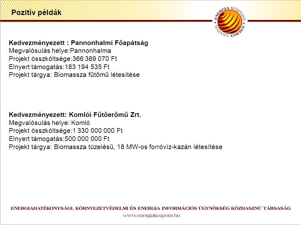 z Pozitív példák Kedvezményezett : Pannonhalmi Főapátság Megvalósulás helye:Pannonhalma Projekt összköltsége:366 389 070 Ft Elnyert támogatás:183 194 535 Ft Projekt tárgya: Biomassza fűtőmű létesítése Kedvezményezett: Komlói Fűtőerőmű Zrt.