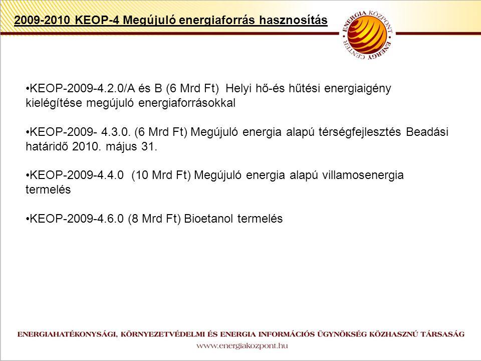 z KEOP-2009-4.2.0/A és B (6 Mrd Ft) Helyi hő-és hűtési energiaigény kielégítése megújuló energiaforrásokkal KEOP-2009- 4.3.0.