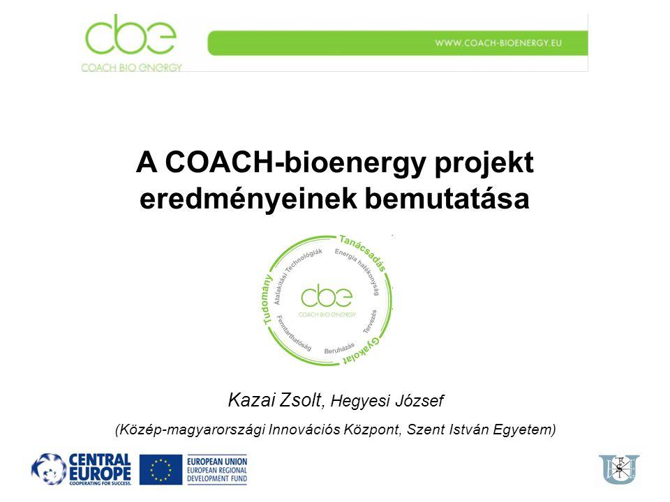A COACH-bioenergy projekt eredményeinek bemutatása Kazai Zsolt, Hegyesi József (Közép-magyarországi Innovációs Központ, Szent István Egyetem)