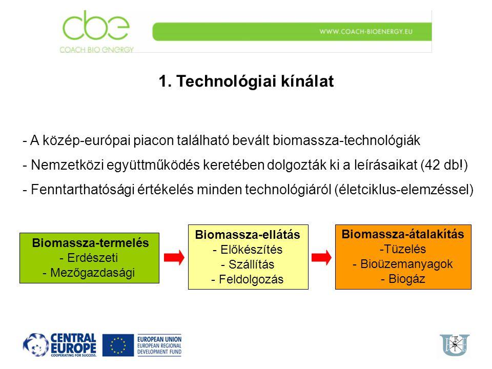 1. Technológiai kínálat - A közép-európai piacon található bevált biomassza-technológiák - Nemzetközi együttműködés keretében dolgozták ki a leírásaik