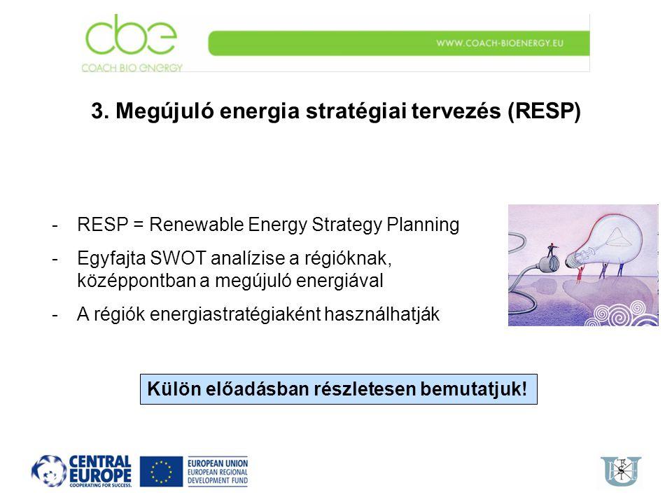 3. Megújuló energia stratégiai tervezés (RESP) -RESP = Renewable Energy Strategy Planning -Egyfajta SWOT analízise a régióknak, középpontban a megújul