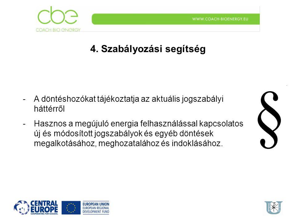 4. Szabályozási segítség -A döntéshozókat tájékoztatja az aktuális jogszabályi háttérről -Hasznos a megújuló energia felhasználással kapcsolatos új és
