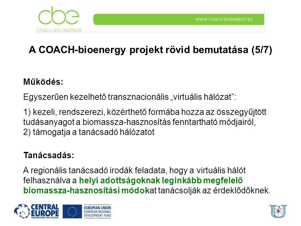 """A COACH-bioenergy projekt rövid bemutatása (5/7) Működés: Egyszerűen kezelhető transznacionális """"virtuális hálózat"""": 1) kezeli, rendszerezi, közérthet"""