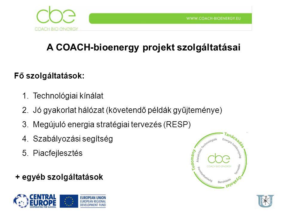 A COACH-bioenergy projekt szolgáltatásai Fő szolgáltatások: 1.Technológiai kínálat 2.Jó gyakorlat hálózat (követendő példák gyűjteménye) 3.Megújuló en