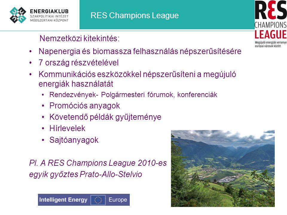 RES Champions League Napenergia és biomassza felhasználás népszerűsítésére 7 ország részvételével Kommunikációs eszközökkel népszerűsíteni a megújuló energiák használatát Rendezvények- Polgármesteri fórumok, konferenciák Promóciós anyagok Követendő példák gyűjteménye Hírlevelek Sajtóanyagok Pl.
