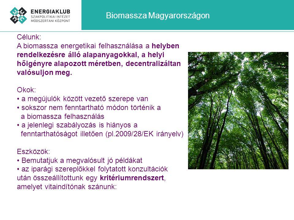 Fenntarthatósági kritériumrendszer Teljesítmény: a helyi hőigény kielégítésére méretezett, de max.20MW összteljesítmény Alapanyag beszerzése: alapvetően a helyben rendelkezésre álló mezőgazdasági alapanyagok, csak kiegészítésként faipari melléktermékek, tüzifa, amely eredetigazolással (min.