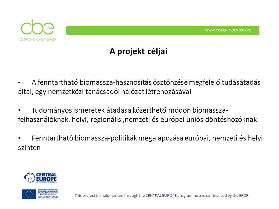 A projekt céljai This project is implemented through the CENTRAL EUROPE programme and co-financed by the ERDF A fenntartható biomassza-hasznosítás ösztönzése megfelelő tudásátadás által, egy nemzetközi tanácsadói hálózat létrehozásával Tudományos ismeretek átadása közérthető módon biomassza- felhasználóknak, helyi, regionális,nemzeti és európai uniós döntéshozóknak Fenntartható biomassza-politikák megalapozása európai, nemzeti és helyi szinten