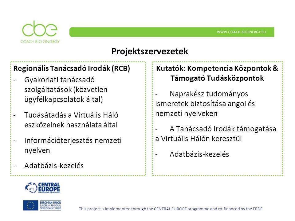 Projektszervezetek Kutatók: Kompetencia Központok & Támogató Tudásközpontok - Naprakész tudományos ismeretek biztosítása angol és nemzeti nyelveken - A Tanácsadó Irodák támogatása a Virtuális Hálón keresztül - Adatbázis-kezelés Regionális Tanácsadó Irodák (RCB) -Gyakorlati tanácsadó szolgáltatások (közvetlen ügyfélkapcsolatok által) -Tudásátadás a Virtuális Háló eszközeinek használata által -Információterjesztés nemzeti nyelven -Adatbázis-kezelés This project is implemented through the CENTRAL EUROPE programme and co-financed by the ERDF