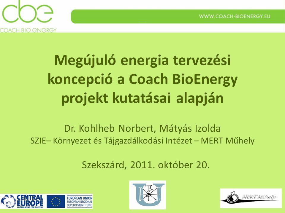 Megújuló energia tervezési koncepció a Coach BioEnergy projekt kutatásai alapján Szekszárd, 2011.