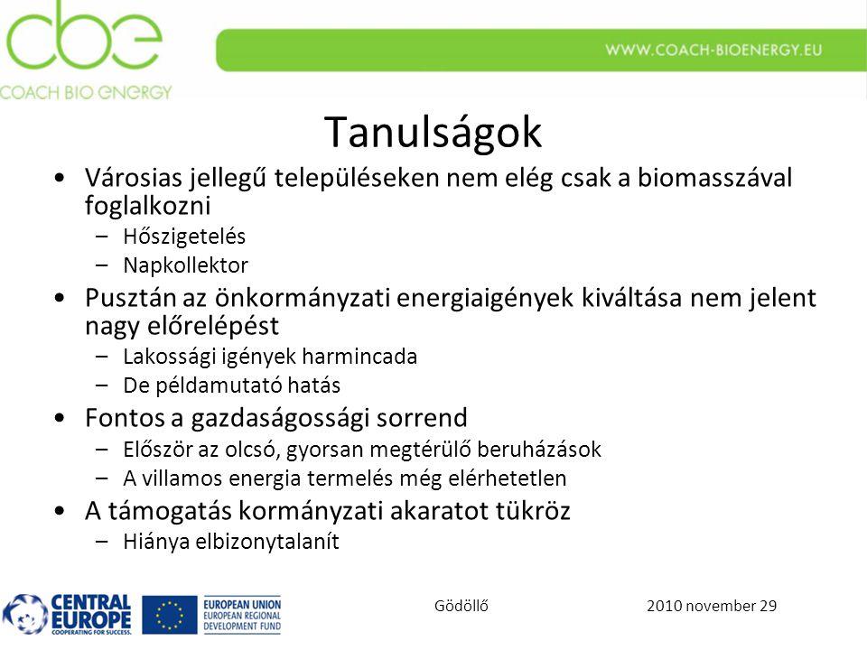 2010 november 29Gödöllő Tanulságok Városias jellegű településeken nem elég csak a biomasszával foglalkozni –Hőszigetelés –Napkollektor Pusztán az önkormányzati energiaigények kiváltása nem jelent nagy előrelépést –Lakossági igények harmincada –De példamutató hatás Fontos a gazdaságossági sorrend –Először az olcsó, gyorsan megtérülő beruházások –A villamos energia termelés még elérhetetlen A támogatás kormányzati akaratot tükröz –Hiánya elbizonytalanít
