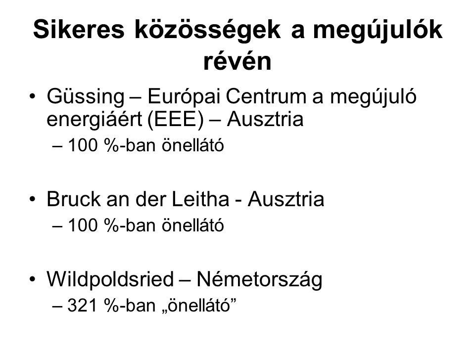 """Sikeres közösségek a megújulók révén Güssing – Európai Centrum a megújuló energiáért (EEE) – Ausztria –100 %-ban önellátó Bruck an der Leitha - Ausztria –100 %-ban önellátó Wildpoldsried – Németország –321 %-ban """"önellátó"""